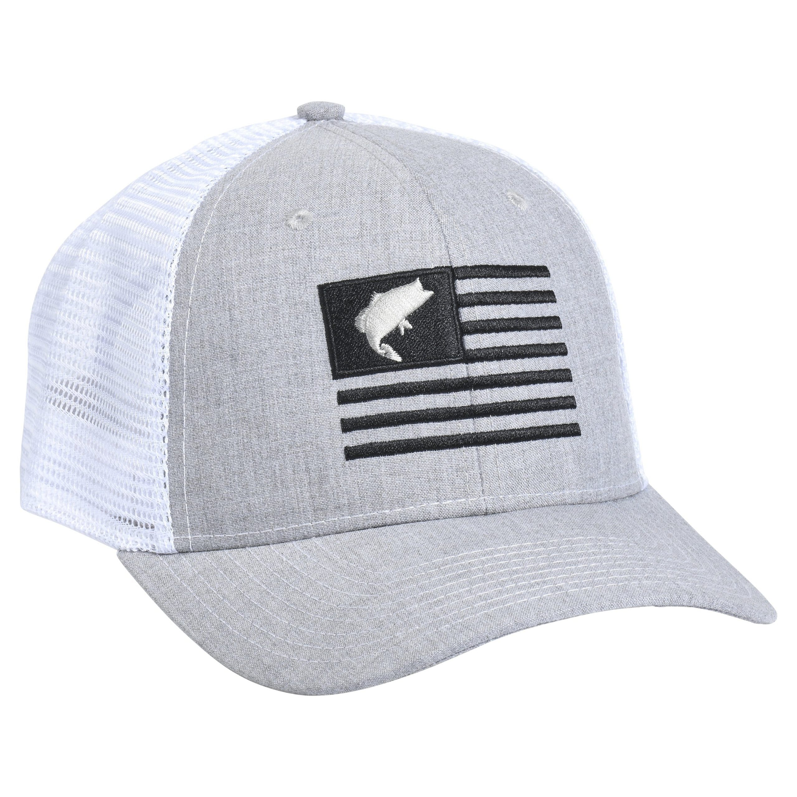 Bass Flag Embroidery Heather/White
