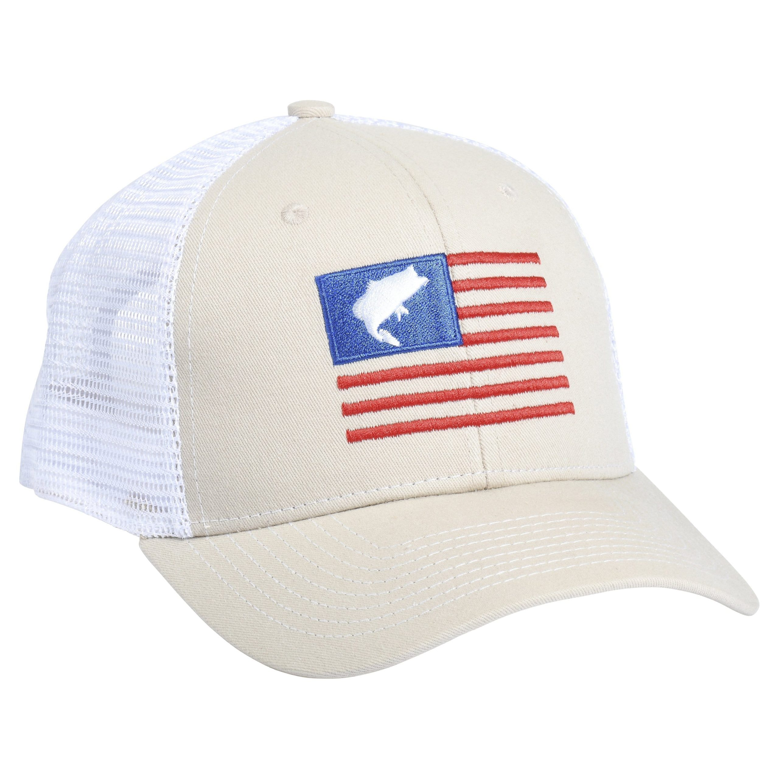 Bass Flag Embroidery Tan/White