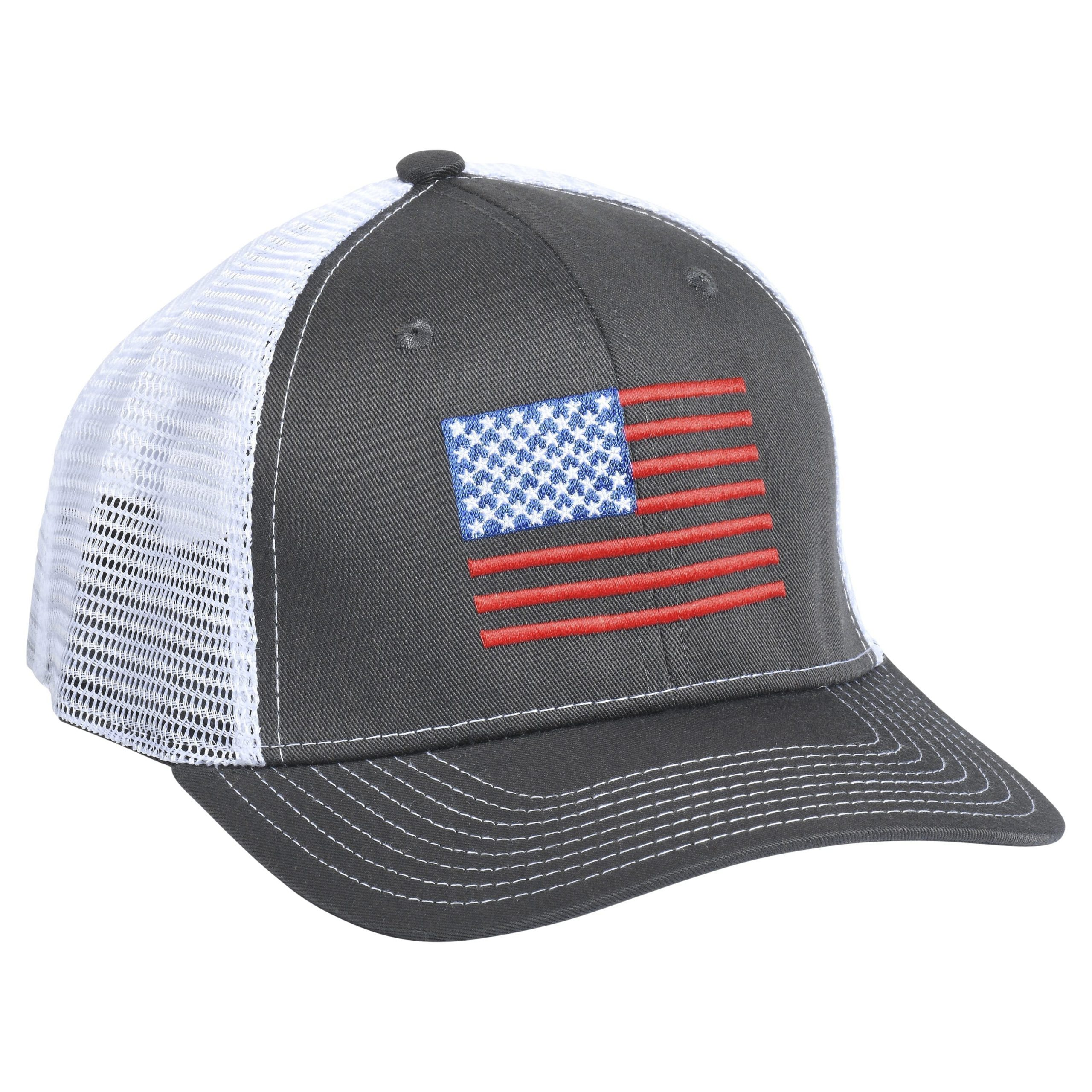 American Flag Embroidery Charcoal/White