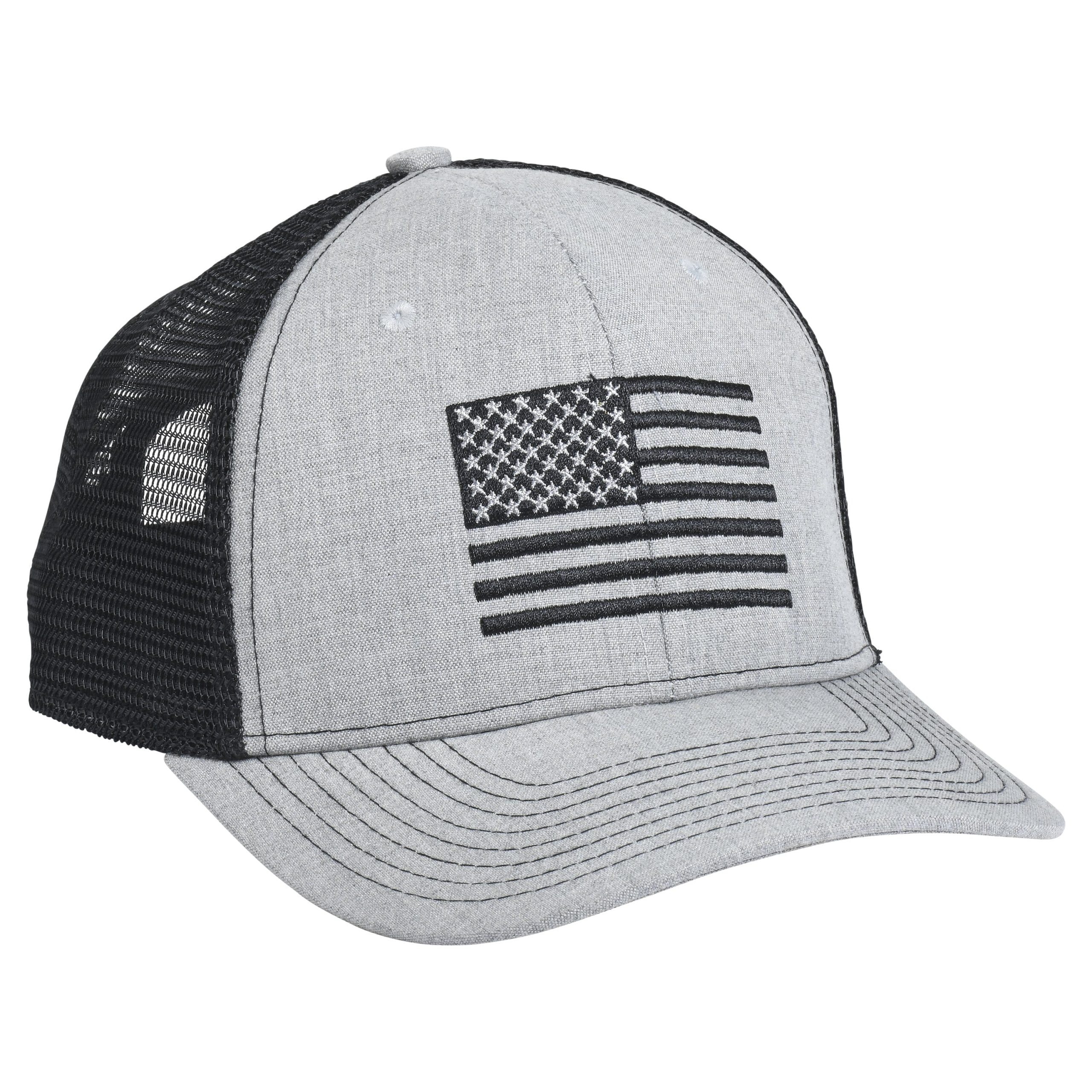 American Flag Embroidery Heather/Black