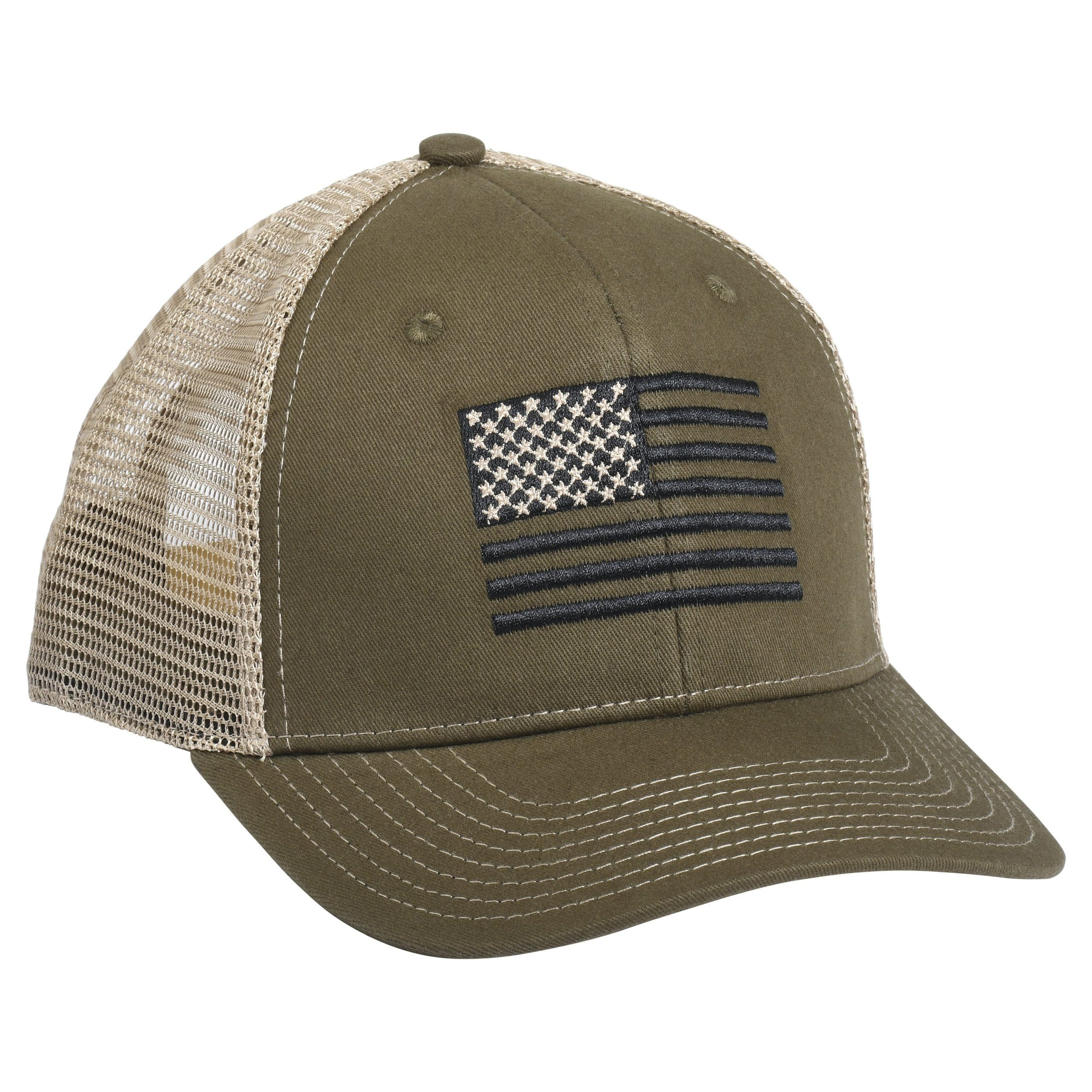 American Flag Embroidery OB Green/Khaki