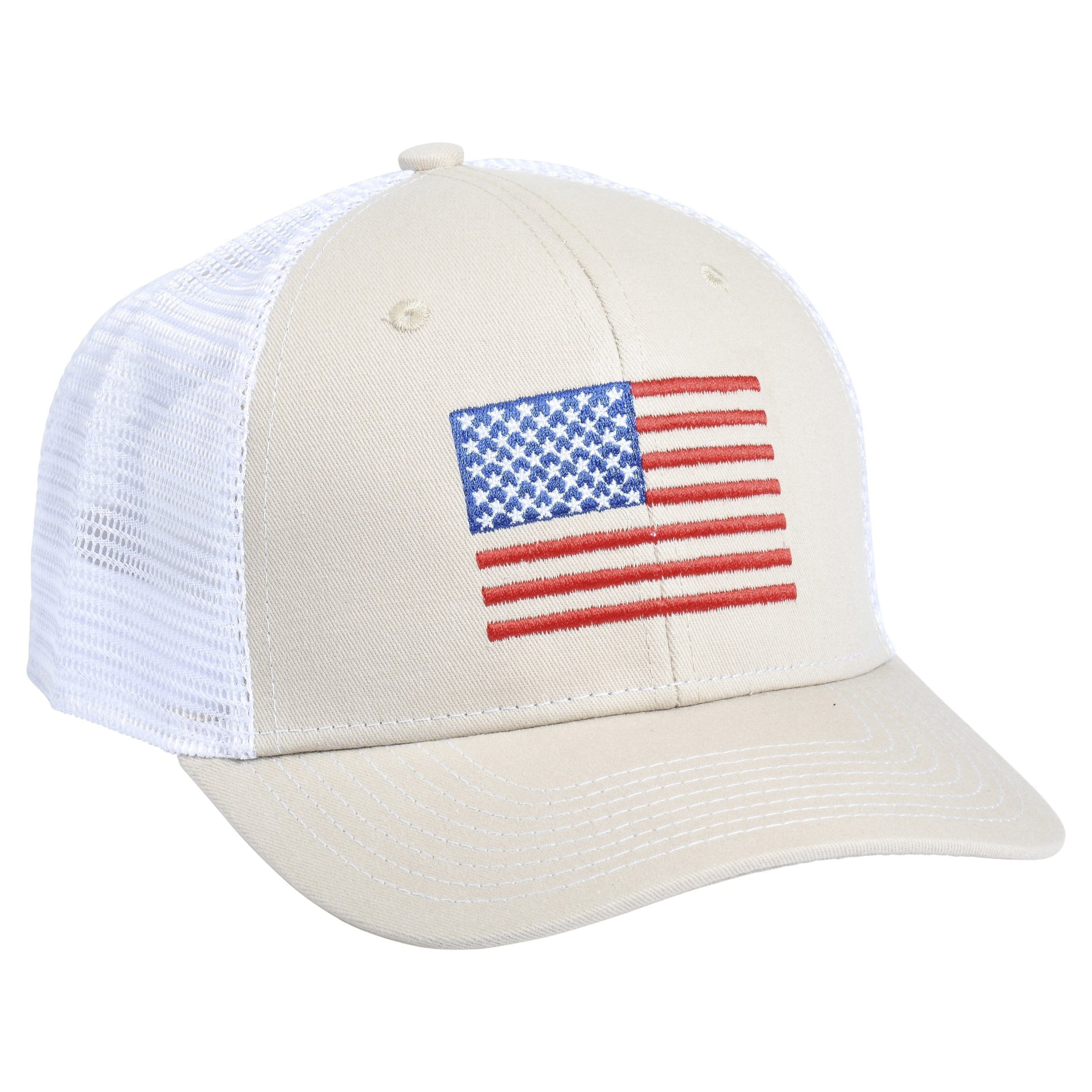 American Flag Embroidery Tan/White