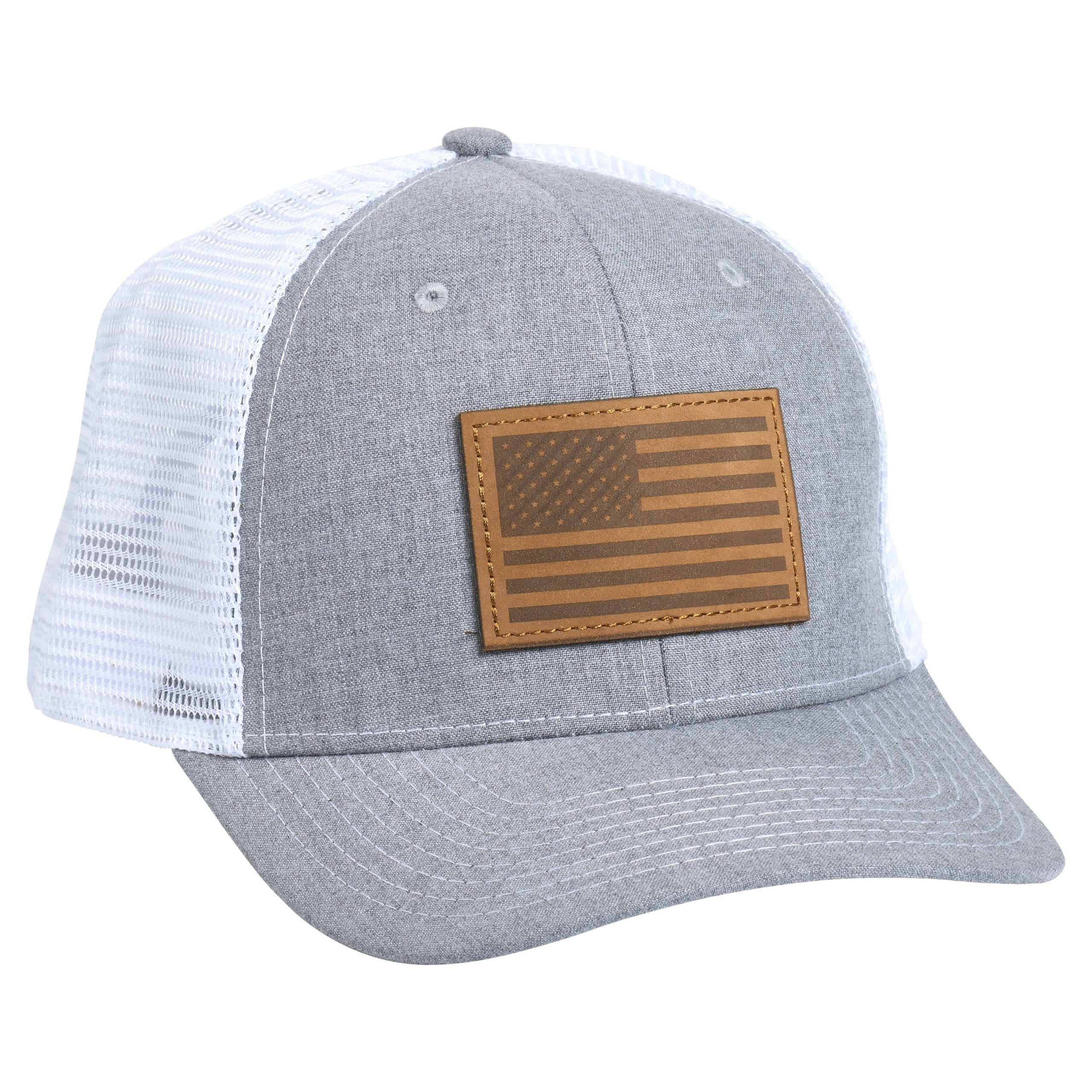 American Flag Leather Patch Heather/White
