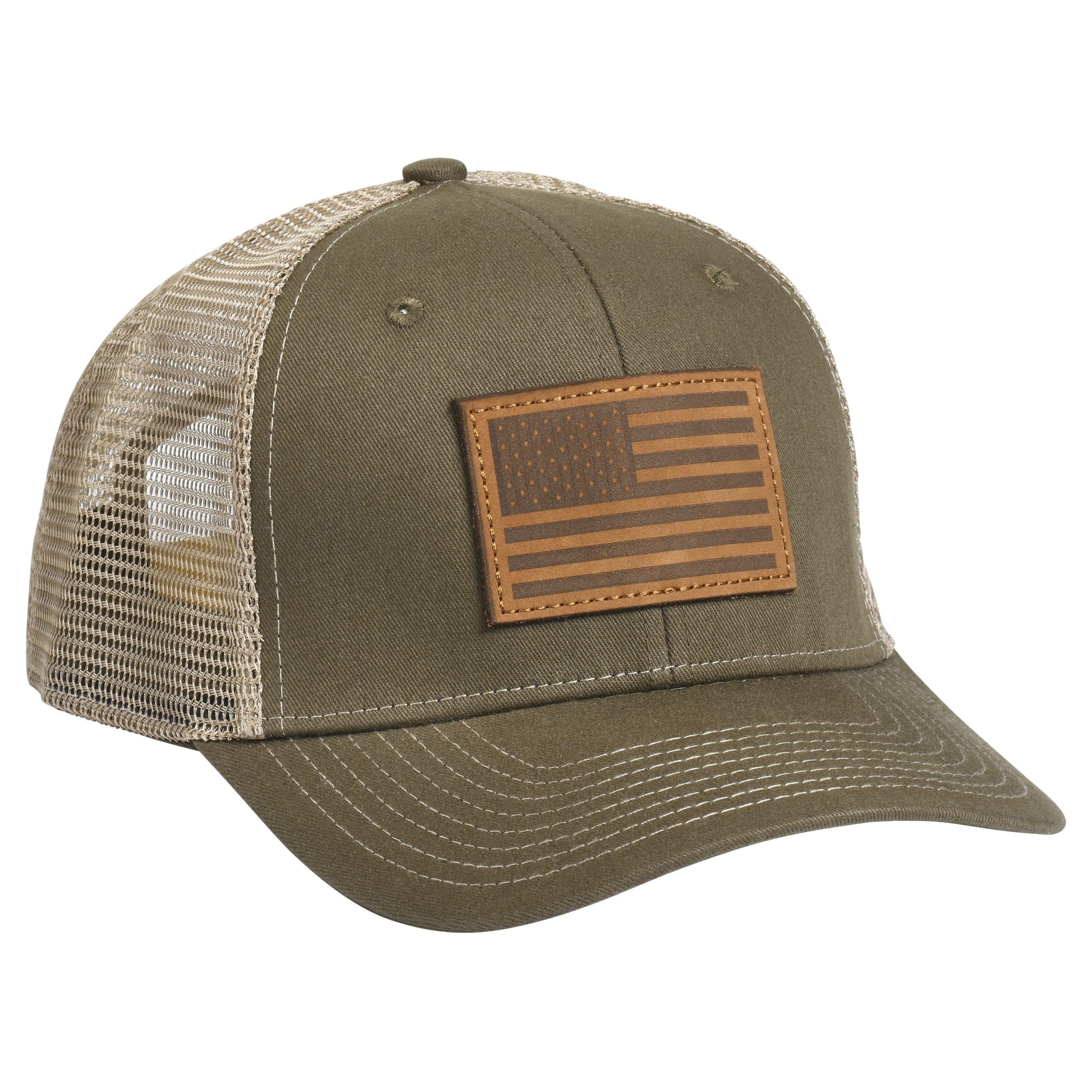 American Flag Leather Patch ODB/Tan