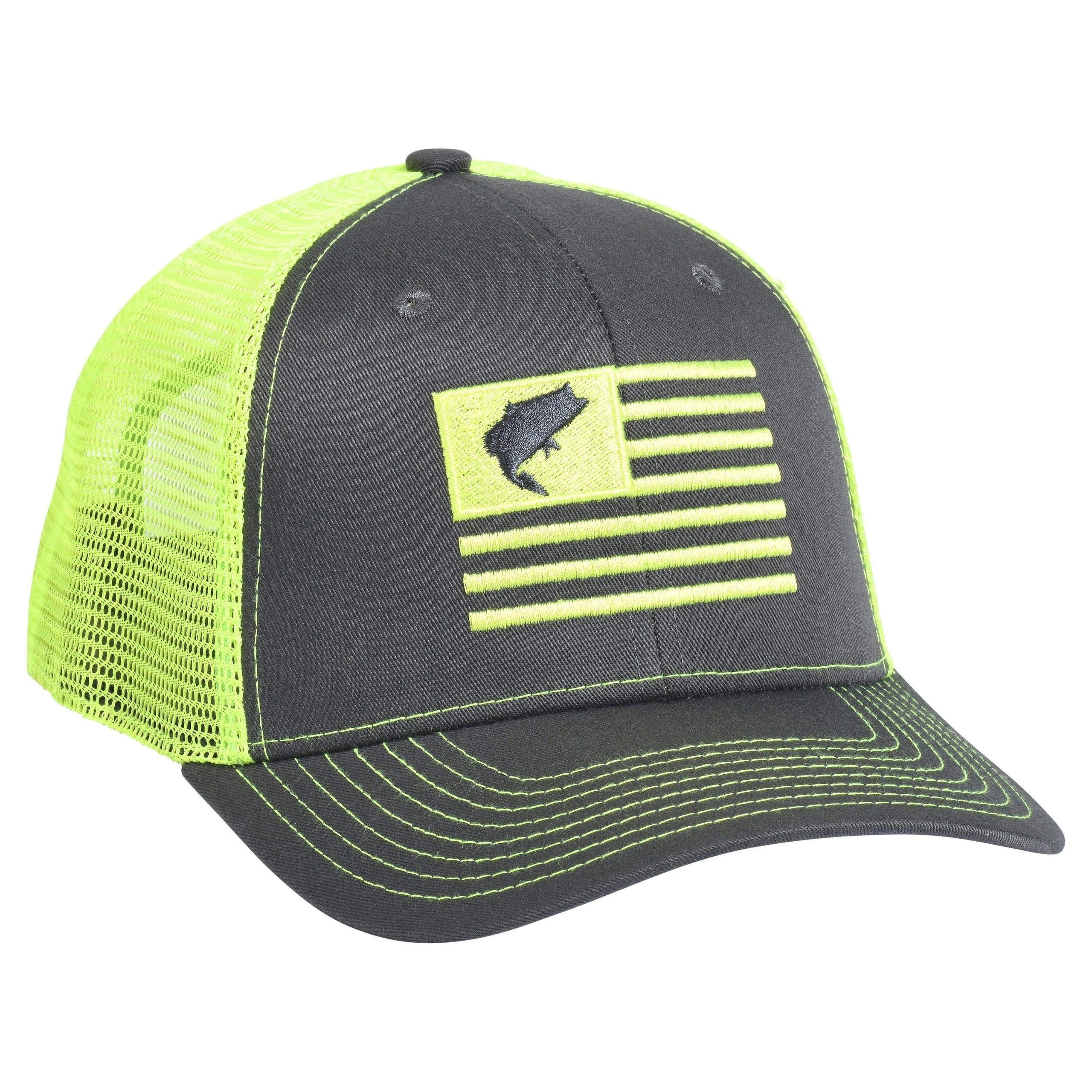 Bass Flag Embroidery Charcoal/Neon Green