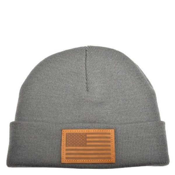 American Flag Leather Patch Grey