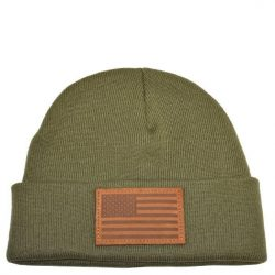 American Flag Leather Patch Olive