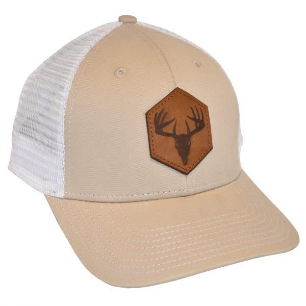 Deer Skull Leather Patch Tan/White