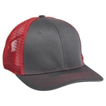 901 Mesh Snapback Hat Charcoal/Red