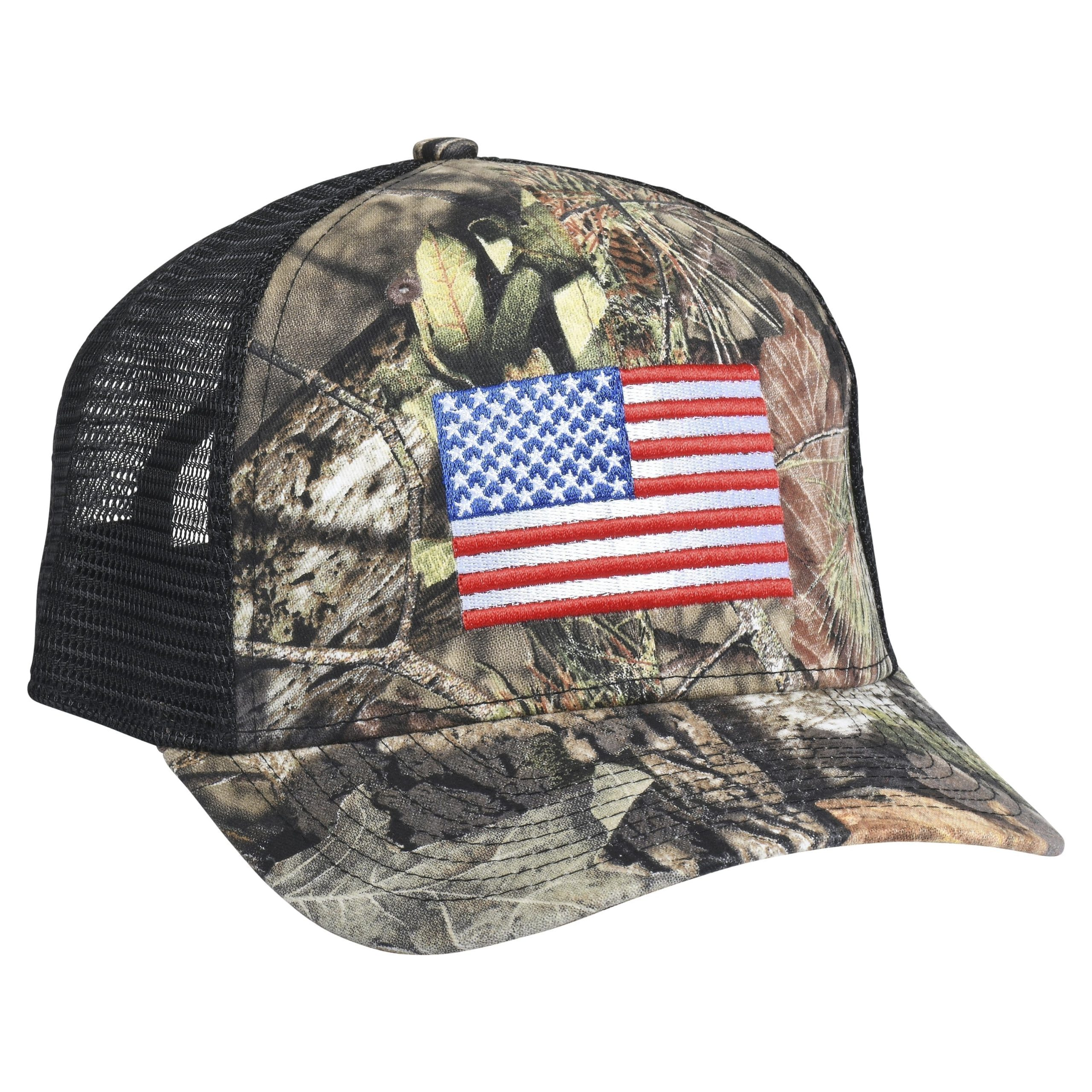 Mossy Oak Classic Flag Embroidery Break Up Country/Black Mesh