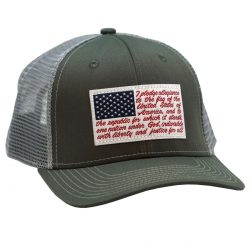 American Flag Pledge of Allegiance patch Charcoal Gray