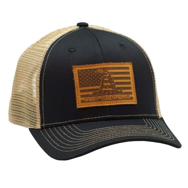American Flag Leather Patch Dont Tread on me Black Tan