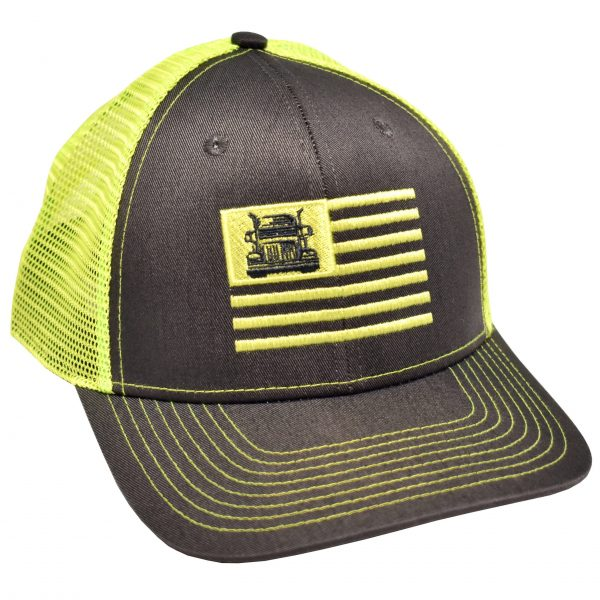 Trucker Flag Embroidery Charcoal Neon green