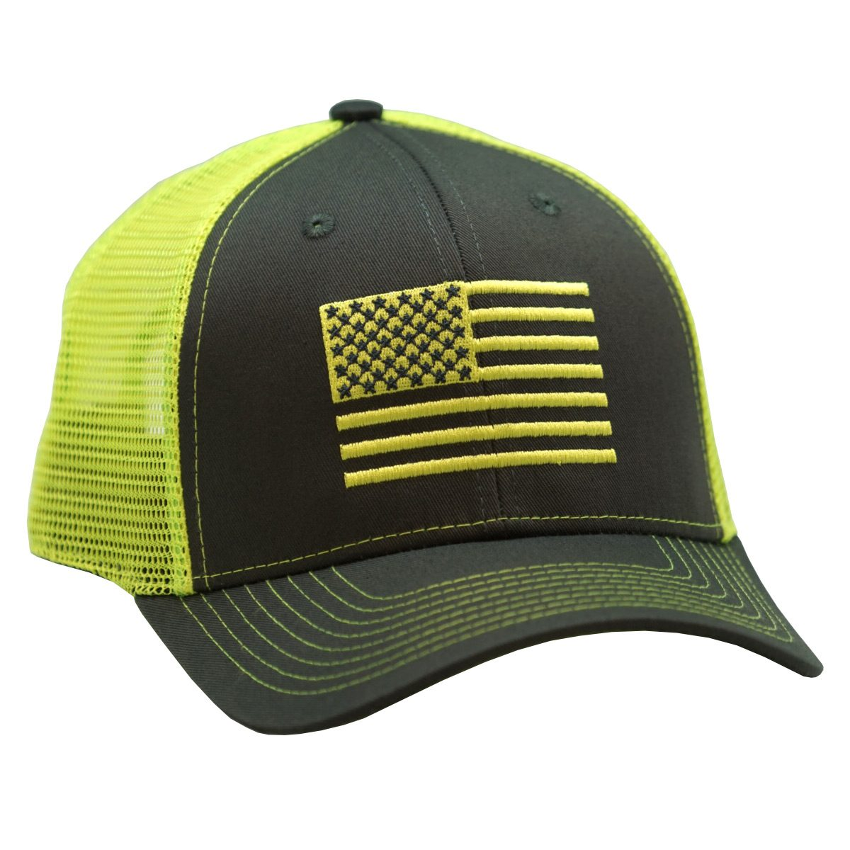 American Flag Embroidery Charcoal/Neon Green