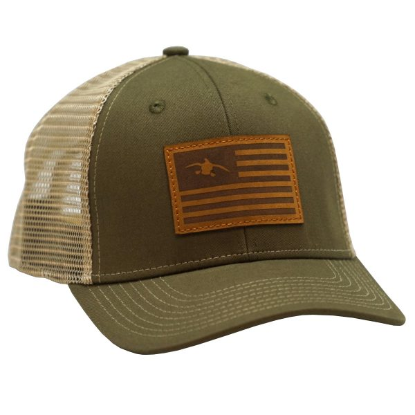 Duck Flag Leather Patch OB Green/Khaki
