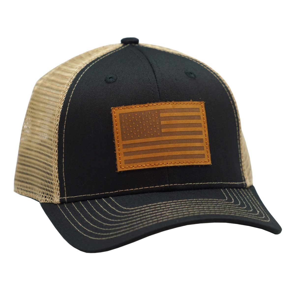 American Flag Leather Patch Black/Tan
