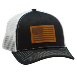 American Flag Leather Patch Black/White