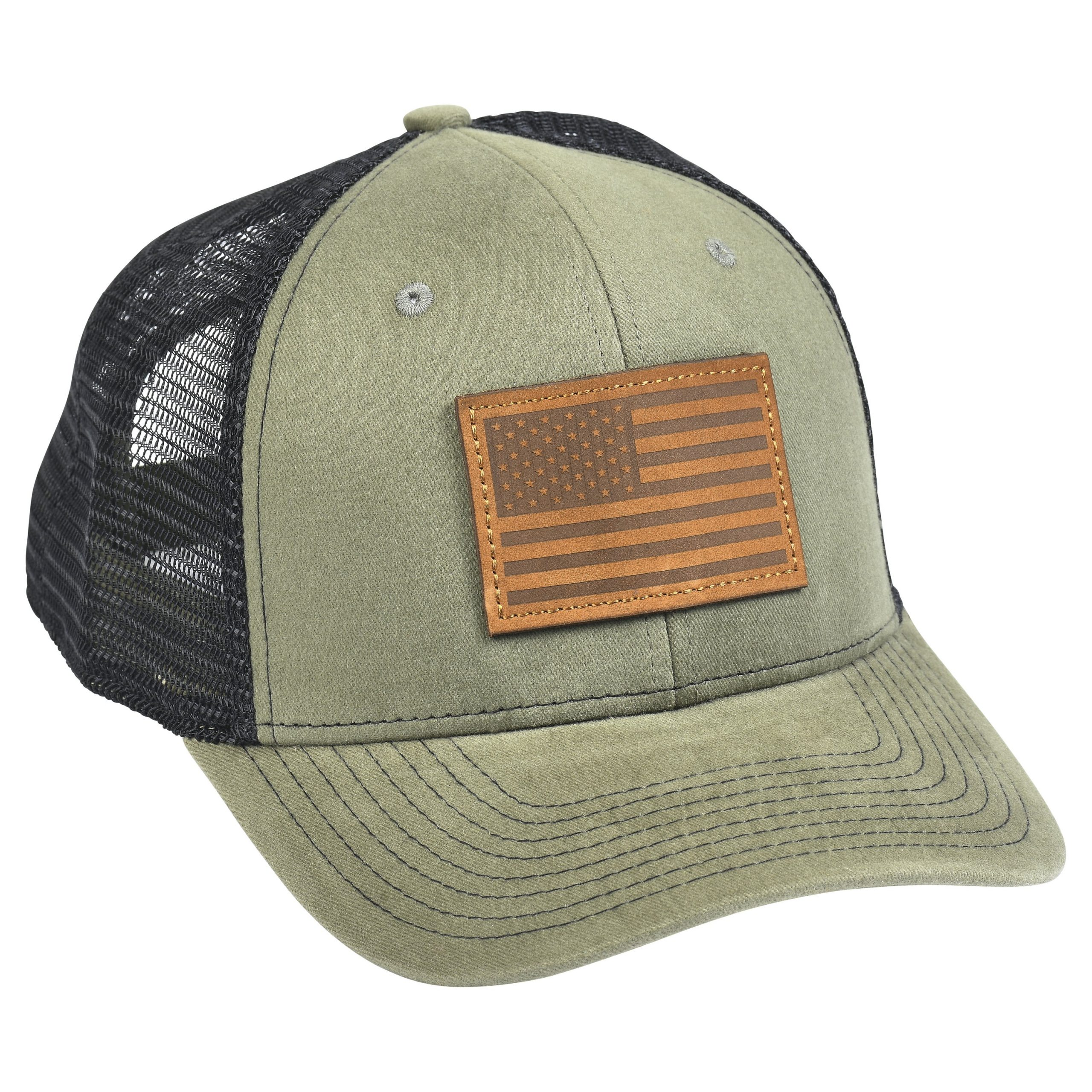 American Flag Leather Patch Moss Green/Black