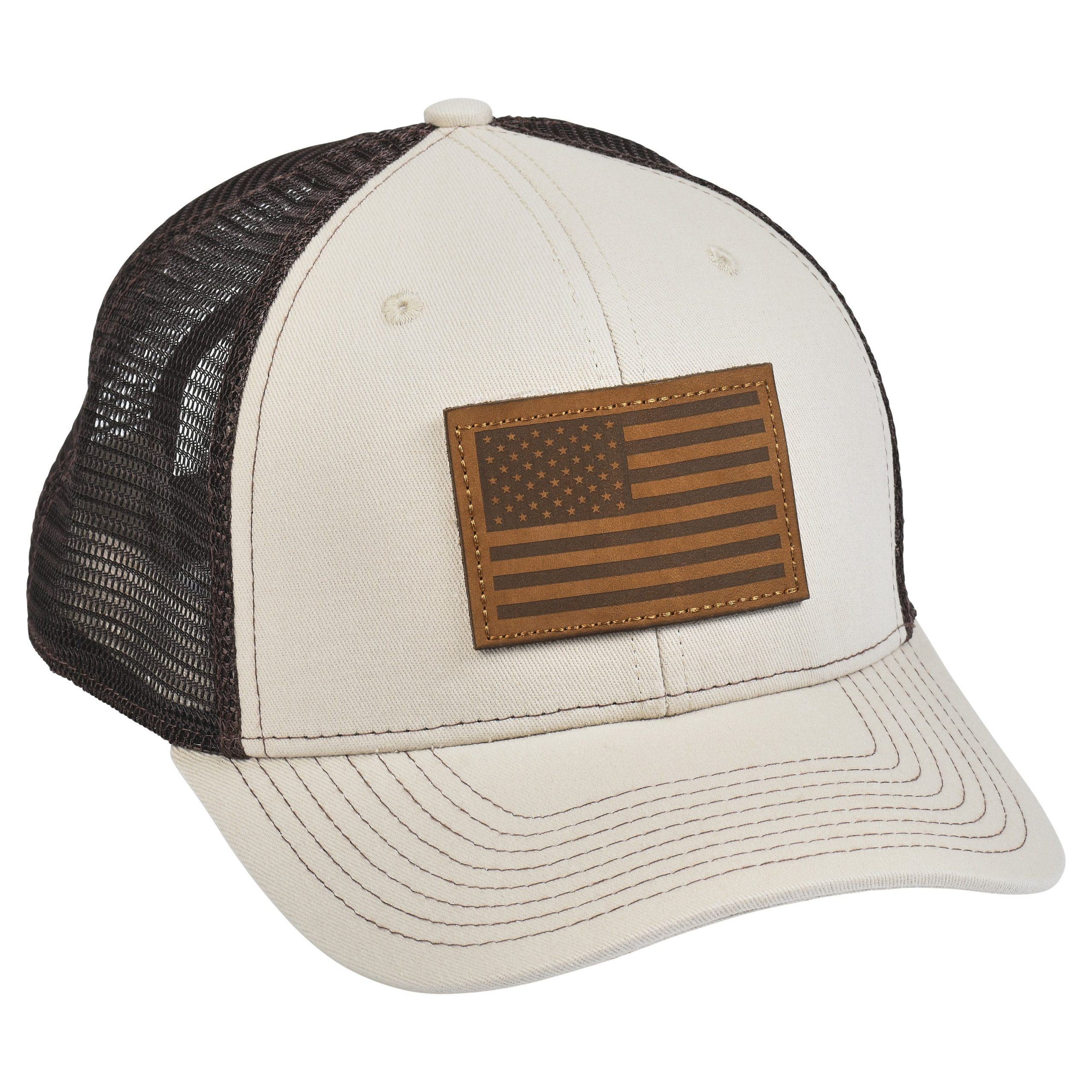American Flag Leather Patch Tan/Brown